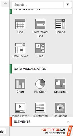 Ignite UI Page Designer Toolbox