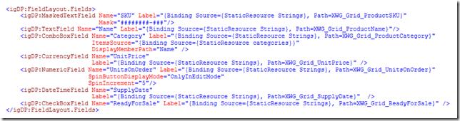 xamDataGrid - editor specific fields