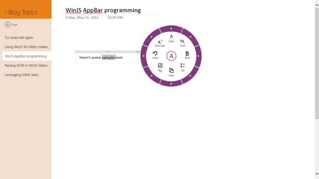 OneNote text radial menu