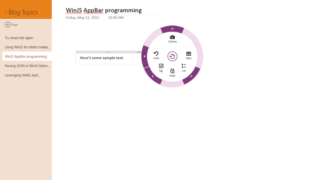 OneNote radial menu opened