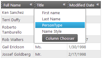 Column Hiding UI with Responsive feature