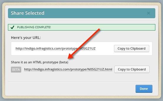 Indigo Studio Beta HTML Share URL