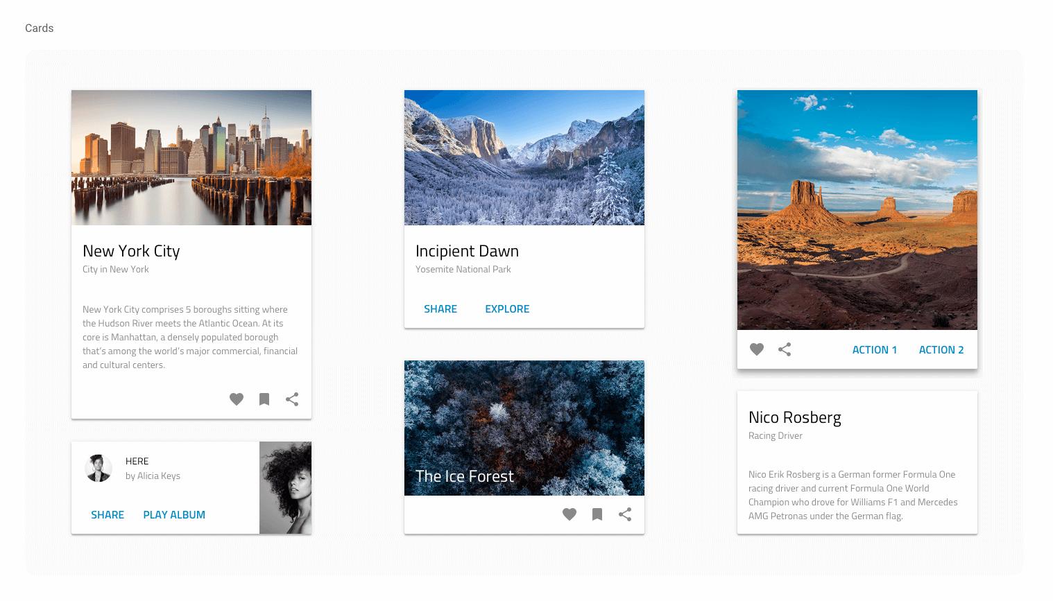 UI Kit's cards, based on Material design