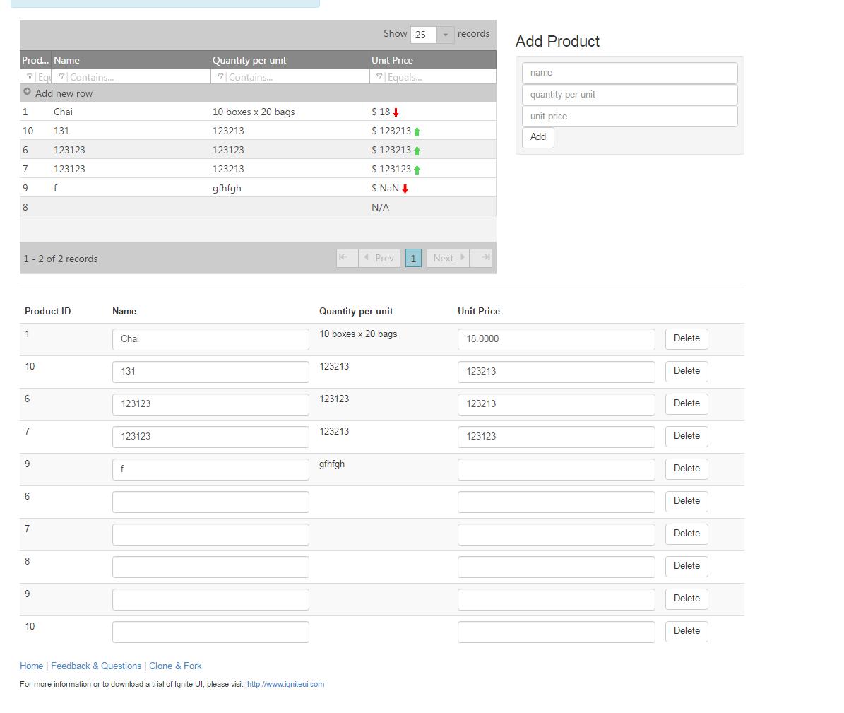 Angular 2 Master Detail Component Grid Binding