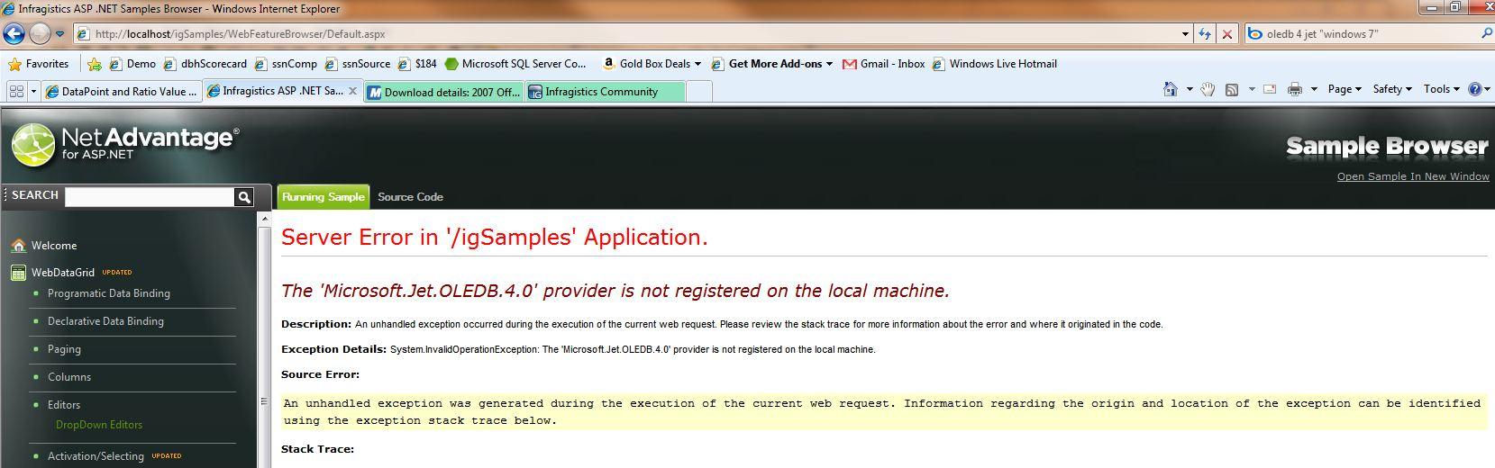 Running Sample Browser Locally - The 'Microsoft Jet OLEDB 4 0