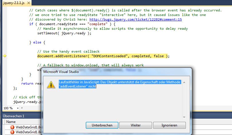 Issue with Webtab and Jquery addEventListener | Infragistics