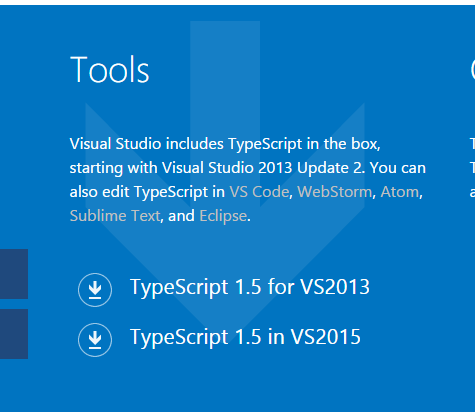 To work with TypeScript in the Visual Studio  download the TypeScript