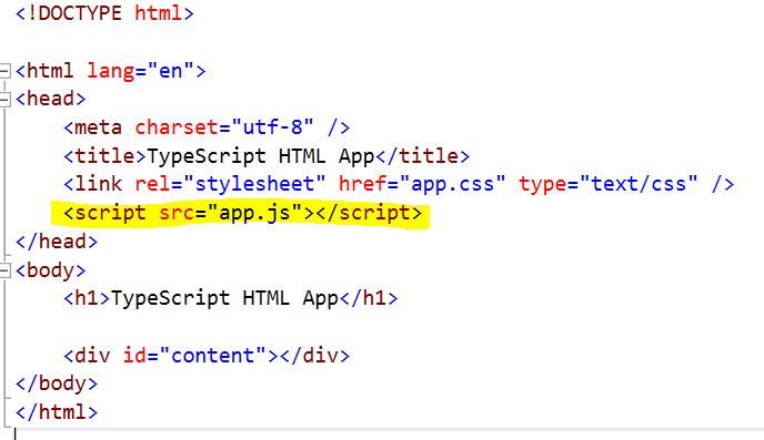 Figure 4: Reference to compiled app.js in index.html