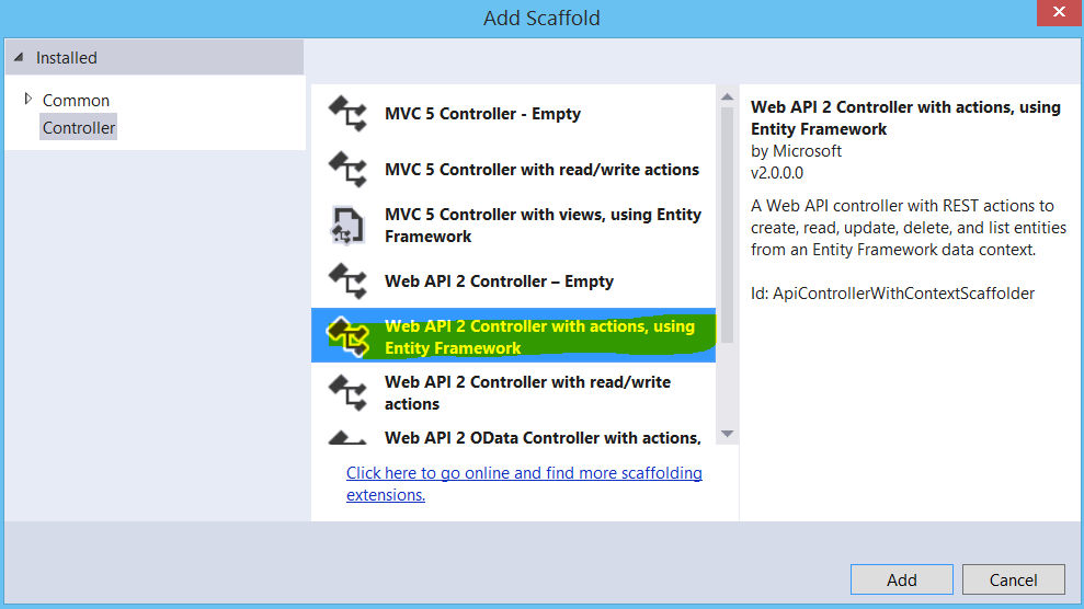 Creating an ASP NET Web API using the Entity Framework Code