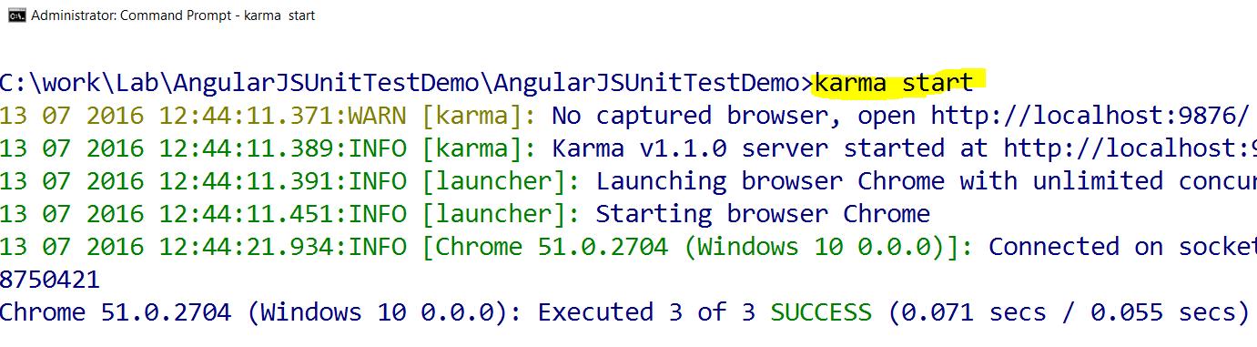 Using jasmine and karma to Write and Run Unit Tests for AngularJS