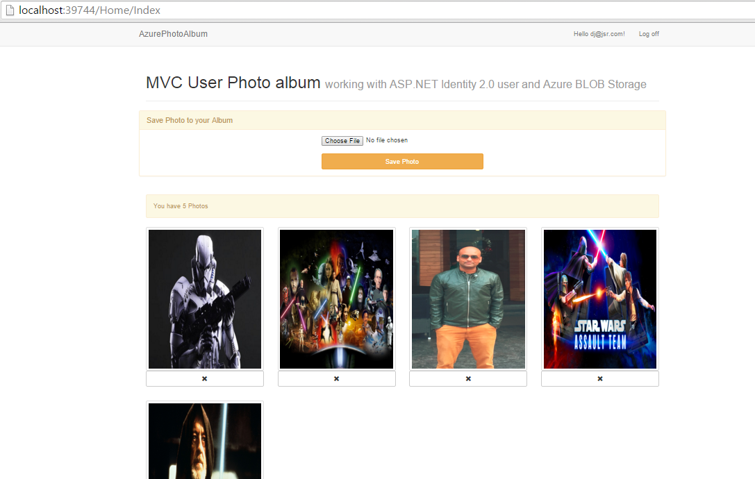 Creating a photo album for ASP NET MVC 5 Users using Azure