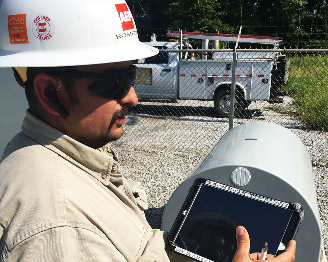 An AEP technician uses SharePlus Enterprise to access key information in the field