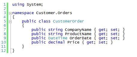 CodeSnippet-CustomerOrder