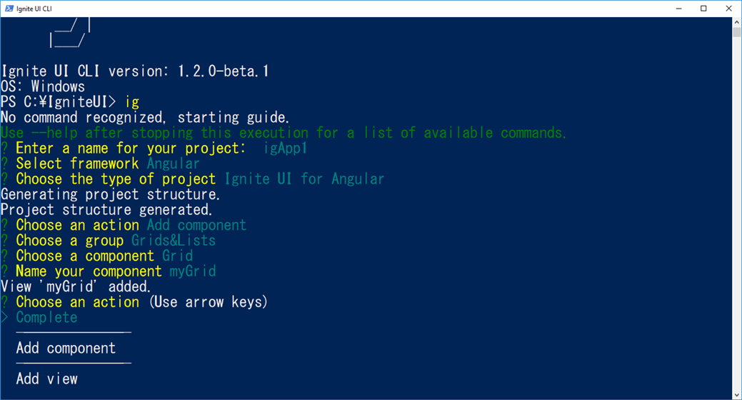 Ignite UI CLI - Added Components