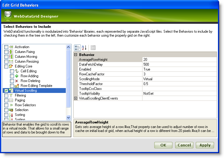 Virtual Scrolling - Infragistics ASP NET™ Help