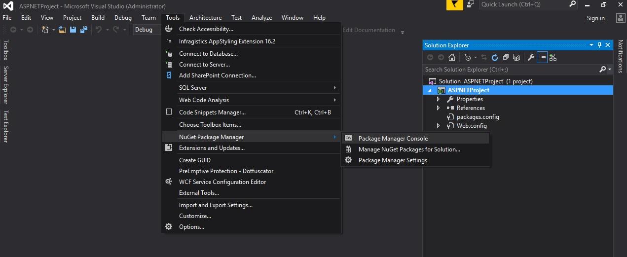 Using ASP NET NuGet packages - Infragistics ASP NET™ Help