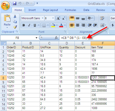 exporting formulas to excel infragistics windows forms help