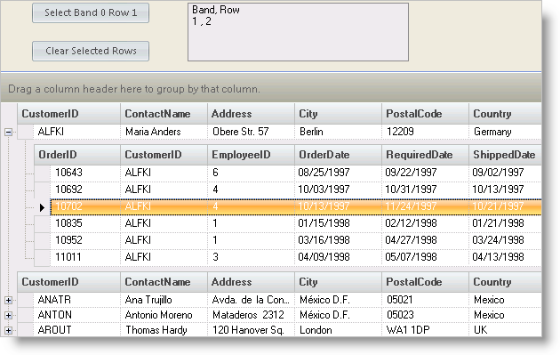 Working with Selected Rows - Infragistics Windows Forms™ Help