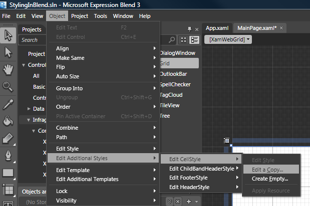 Editing Style Properties Using Expression Blend - Infragistics WPF™ Help