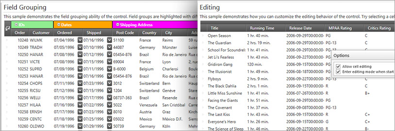 Sort and group WPF grid data using the sorting and grouping feature.