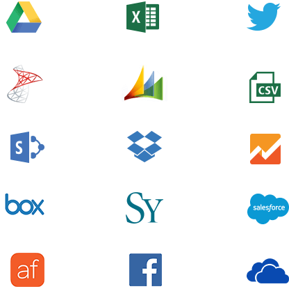 Connect to data sources like Excel, SQL, Hadoop Hive, Dropbox, Salesforce and more with ReportPlus