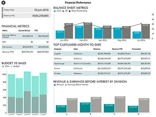 Executive Financial Performance Dashboard created with ReportPlus