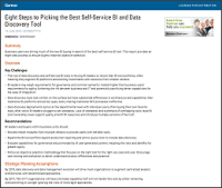 Eight Steps to Picking the Best Self-Service BI and Data Discovery Tool