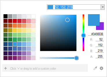 Users can select a color from the color palette.