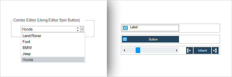 Combo Box Editor drop-down box and vertical scrolling.