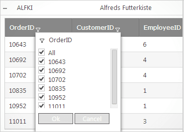 Hierarchical Grid: Excel-Styled Filtering