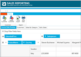 Silverlight Sales Reporting Reference App
