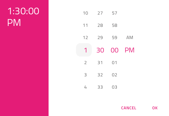 Time Picker - Design System Component - Native Angular