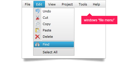 Create a Windows standard file menu with the Silverlight styling menu feature.