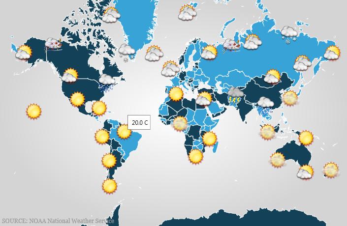 Binding Weather Data Geographic Map WPF