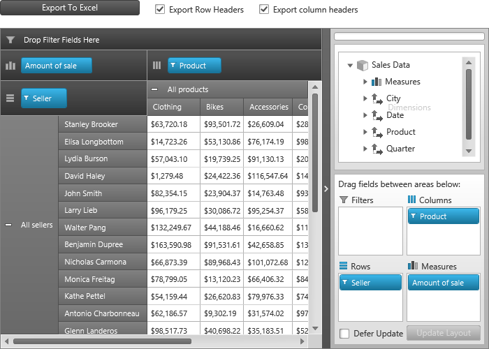 Export To Excel Pivot Grid Wpf