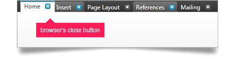 "Close tabs by utilizing the ""x"" button on each of the tabs."