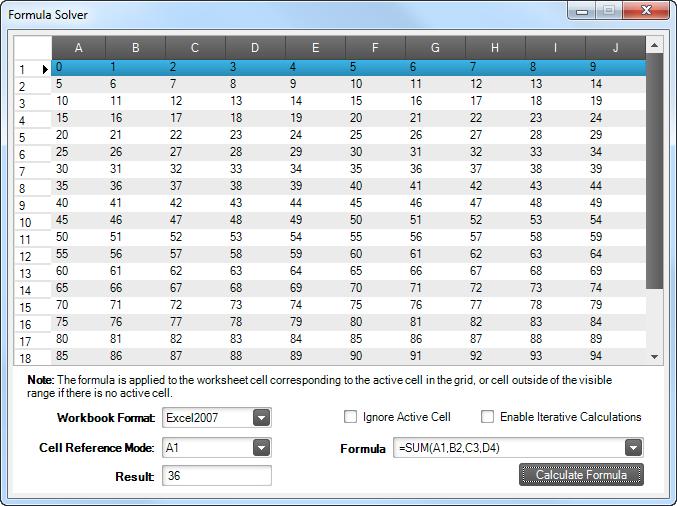 Excel Formula Solving Infragistics Excel Windows Forms