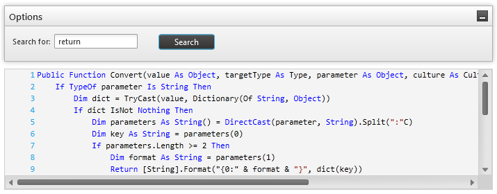 syntax editor feature