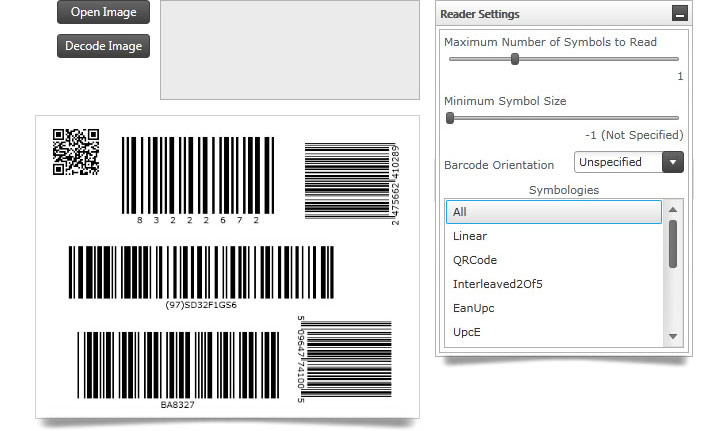 Specify the number of symbols for the reader to look for, set the minimum pixels size of a symbol, and set orientation when scanning barcodes.