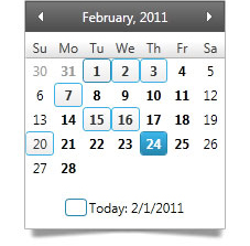 Supports the selection of single dates as well as contiguous or non-contiguous multiple dates.