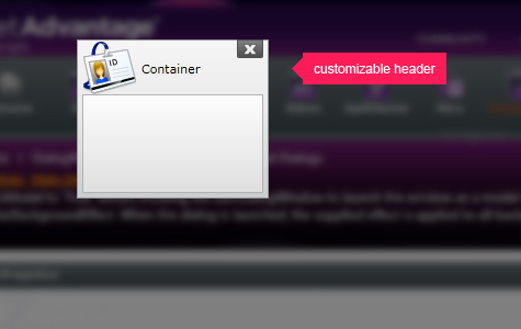 Customize the header and content of your dialog window.