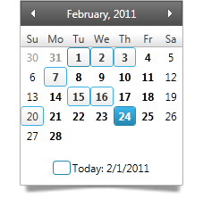 Use the WPF month calendar date selector to choose single or multiple dates in a calendar view.