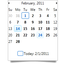 The Windows 7 style month calendar allows users to experience animation in viewing single or multiple dates.