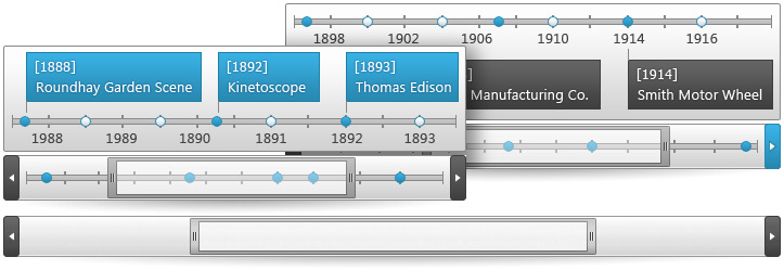 Scroll or zoom a timeline by dragging the respective scrollbars left to right.