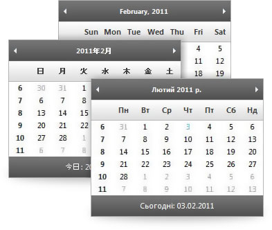 Calendars can take on the day of week headings and date formating customs of the culture assigned.