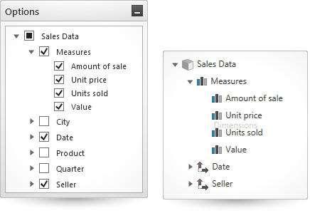 Choose which items are included in the metadata tree and which are excluded in the WPF pivot grid.
