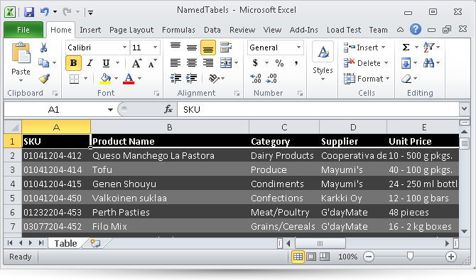 Named Tables in Silverlight Infragistics Excel.
