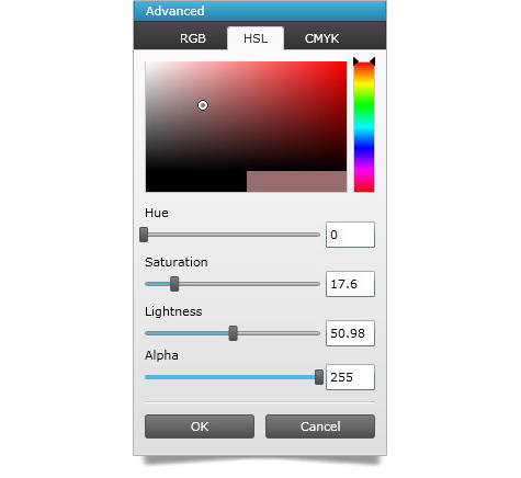 Users can generate their own colors with the WPF advanced color editor feature.