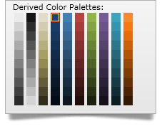 Display one or more auto-generated palettes based on what color the user has selected using the WPF color picker derived palettes feature.