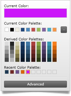 Colors most recently used are saved on a recent color palette for ease of access.
